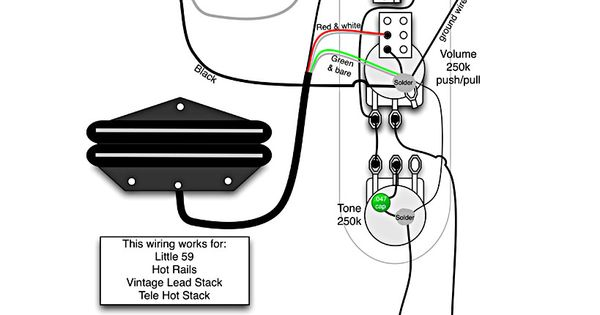 tele wiring diagram 1 single coil neck humbucker tele wiring diagram - 1 humbucker, 1 single coil with push ...