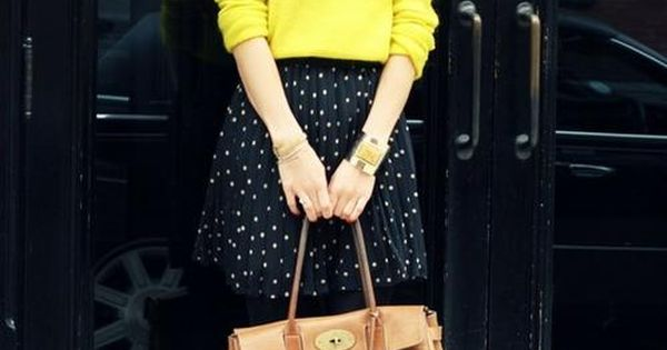Neon Yellow sweater, polkadots skirt, mulberry bag for Fall/Winter
