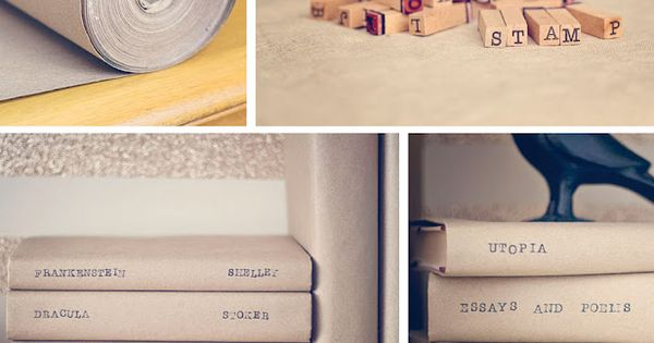 The Library geek in me loves this! Craft book covers hand-stamped via