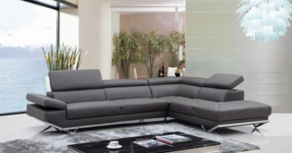Divani Designs Inc : Vig quebec divani casa modern dark grey leather sectional