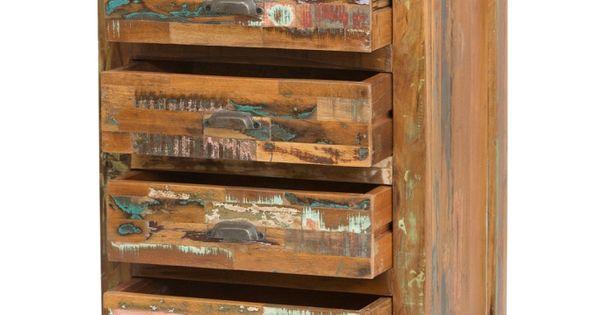 Ladenkast smal van braziliaanse sloophout diverse for Eleonora ladeblok