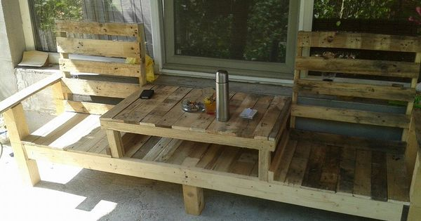 Pallets table bench made from reclaimed pallets.. DIY... Stain it. Buy cushions
