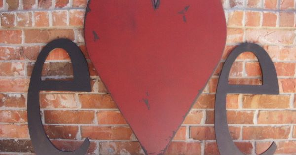 Distressed painted 3 foot tall wood heart and two wood for 3 foot tall letters