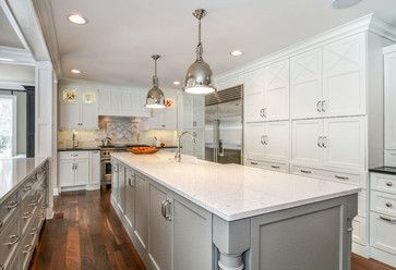 Gray Island With White Perimeter Cabinets Polished Nickel Fixtures Black Perimeter Counters And Light Island C Kitchen Design Countertops Kitchen Countertops