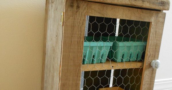 Wood crate box with shelf and chicken wire door made by for Wooden chicken crate plans