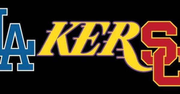"L A Lakers Dodgers Trojans Full Color Decal Sticker 3""x7 5 ..."