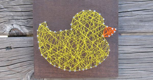 Made to order string art duck sign duck bathroom rubber for Bathroom duck decor