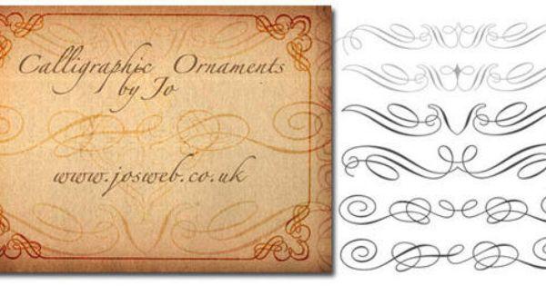 Set Of Fourteen Calligraphic Ornament Photoshop Brushes