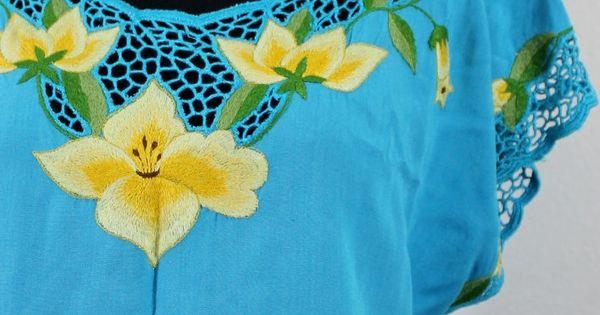 Yellow flowers blue bali cutwork shirt