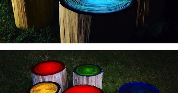 Log Stools painted with glow in the dark paint. What an easy