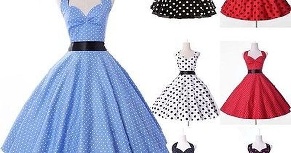 Vintage Polka Dots Retro 50s 60s Halter Swing Pinup Rockabilly Housewife Dress