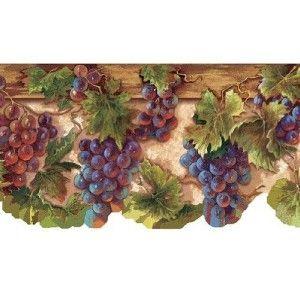Wallpaper Border Tuscan Grapevine Leaves Purple Grapes Grape Decor Wallpaper Border Grape Vines