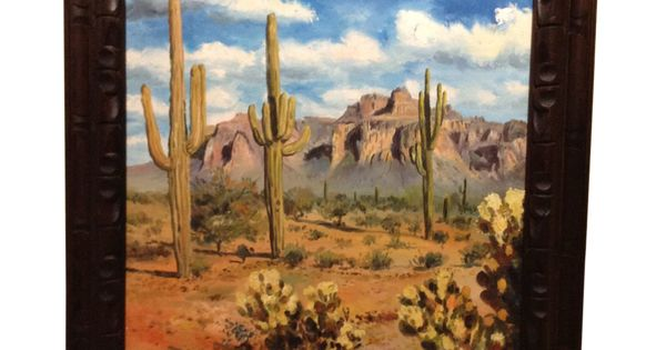 King Pao Oil Painting New Mexico Desert With Saguaro