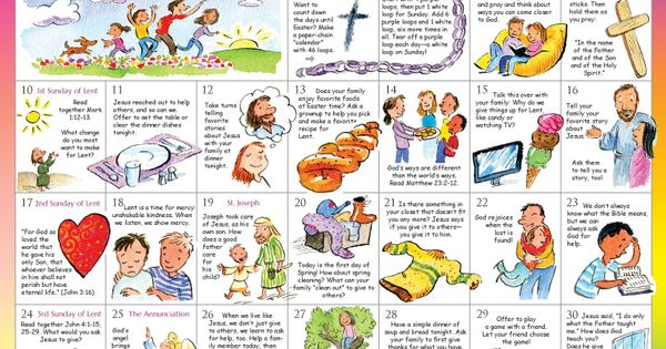Lent 2019 Calendar For Children Count Down The Days To Easter With