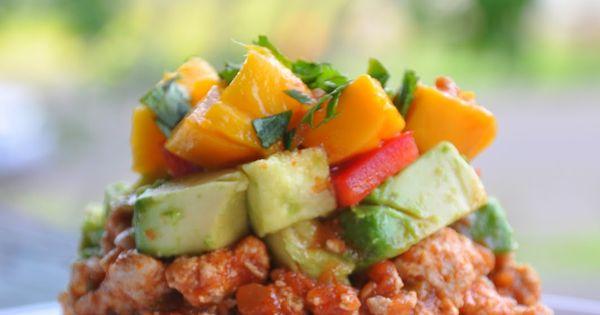 Main Dish: Mexican Haystacks with Avocado, Tomato, Mango, and Cilantro on top