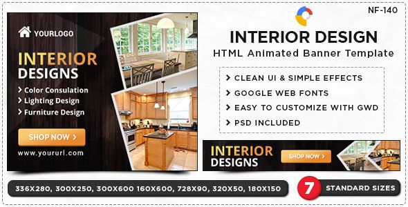 Interior Design Html5 Banners Gwd 7 Sizes Nf Cc 140 Banner