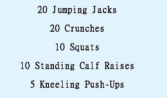 Try this circuit beginner anytime workout! Burn extra calories anytime!
