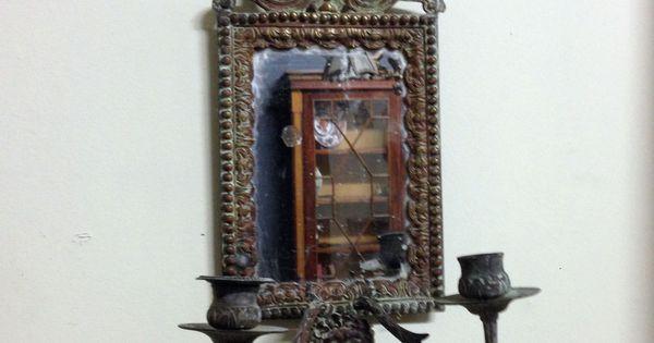 Petit miroir de boudoir comportant deux branches de for Miroir un paradis