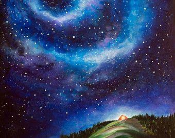 Night Sky Landscape Painting Canvas Print Etsy Night Sky Painting Sky Painting Sky Landscape Painting