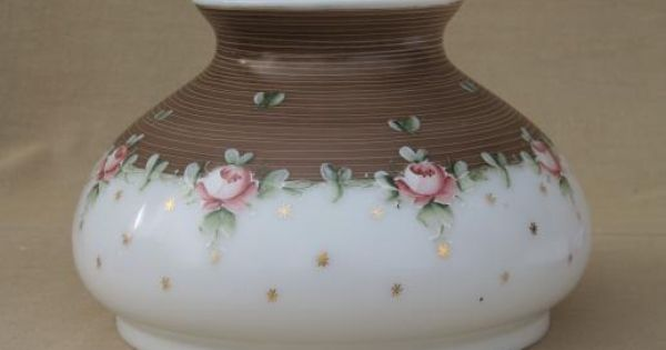 Antique Vintage Milk Glass Lamp Shade W Hand Painted Floral Pink
