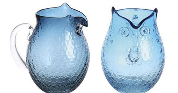 Blue Glass Owl Pitcher.