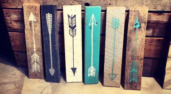 Reclaimed wood arrow sign