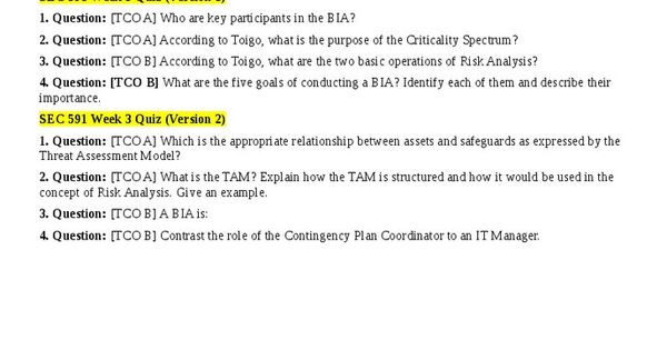 ▻ SEC 591 Week 3 Quiz (Version 1)1 Question TCO A Who are key - contingency plan examples