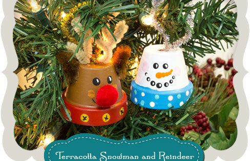 Mini Terracotta Pot - Snowman and Reindeer ornament