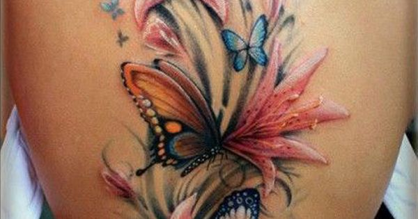 50 butterfly tattoos with flowers for women beautiful for Paillon d ombrage