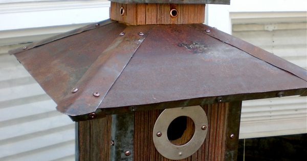 Made to order arts and crafts craftsman style birdhouse for Metal roof craftsman home