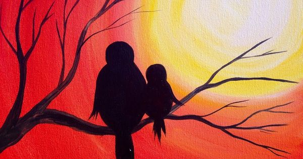 Easy Acrylic Painting Simple Mama Bird Sunset The Art