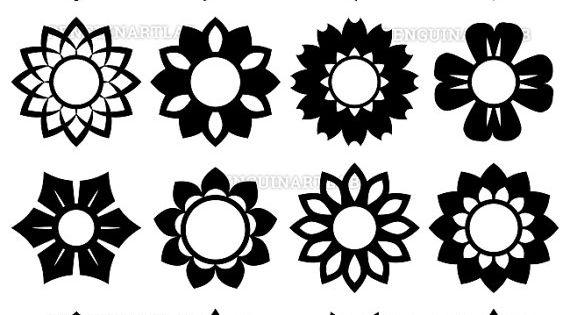 Flower Circle Monogram Frames Summer Flowers Svg Cut