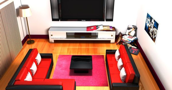 Living room 4 view cinema 4d r14 wall 3d pinterest for Living room cinema 4d