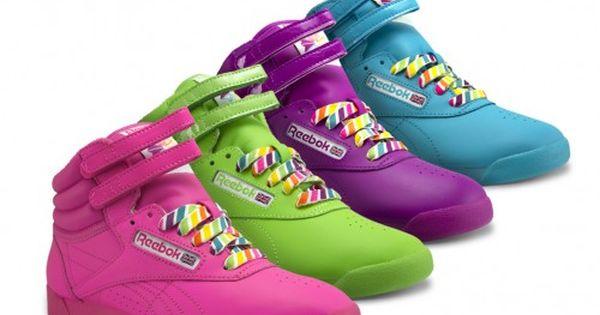 neon green Reebok Freestyle sneakers