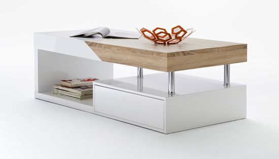 features• modern coffee table in white with oak sawyer , bring a