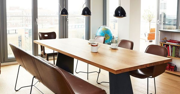 sch ne m bel von mb zwo rohstahl esstische lederbank sessel made in germany made in. Black Bedroom Furniture Sets. Home Design Ideas