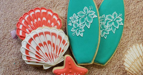 surfboards cookies Surfboards & Seashell Cookies ...
