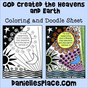 God Created The Heavens And Earth Coloring And Activity Sheet For