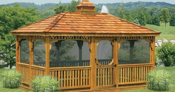 In Vogue Single Roof Rectangle Enclosed Gazebo With Wooden