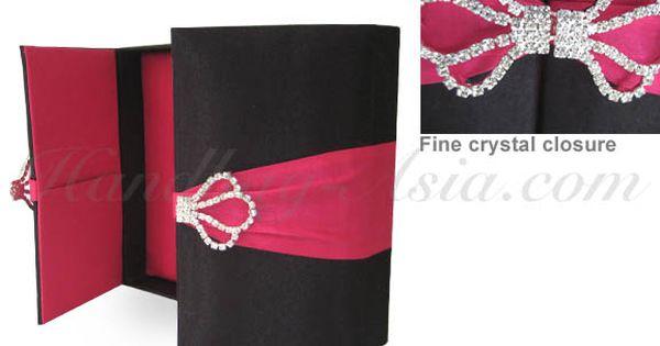 Black Fuchsia Pink Silk Wedding Box With Rhinestone Brooch Lock Bo Perfect And Card