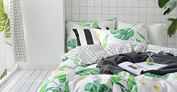 Bulutu Palm Tree Leaves Print Cotton Kids Bedding Cover Sets Queen For Boys Girls Reversible Nature Latti White Comforter Cover Queen Bedding Sets Bedding Sets