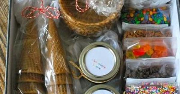 diy icecream sundae gift basket. Super cute idea to give....feet Christmas gift