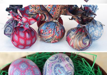 silk tie dyed eggs (makes use of old ties. Neat!)