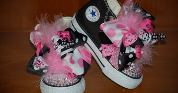Big girl sizes??? PUNK PRINCESS Bling Converse Black Hitops with by PrincessSneakers