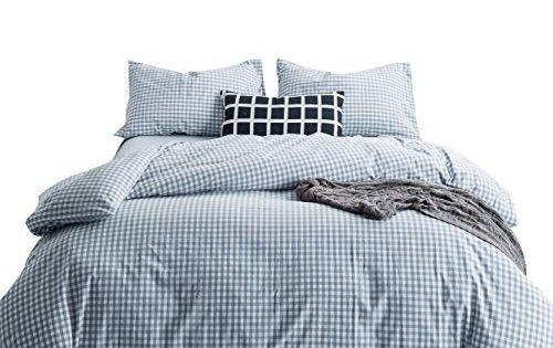 Susybao 3 Pieces Duvet Cover Set 100 Natural Washed Cotton Queen Size 1 Duvet Cover 2 Pillowcases Lux Plaid Bedding Sets Bed Linen Design Geometric Duvet Cover