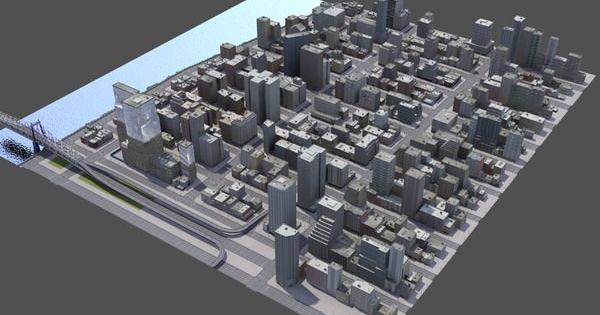Aerial View Of City Buildings D Render With Point Map