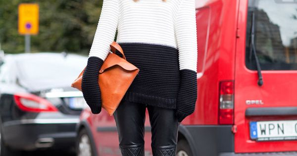colorblocked sweater + leather