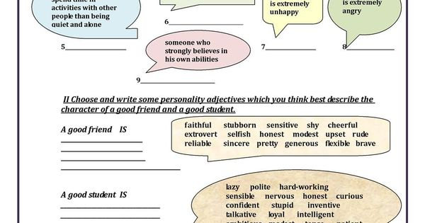 pin personality adjectives worksheet - photo #23