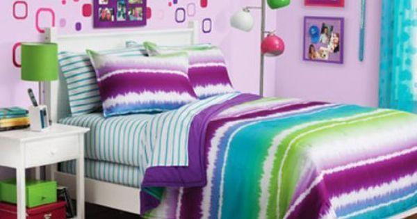Purple, Blue & Green Tie Dye Teen Girls Full Comforter Set (8 Piece Bed In A Bag) By Morgan Teen
