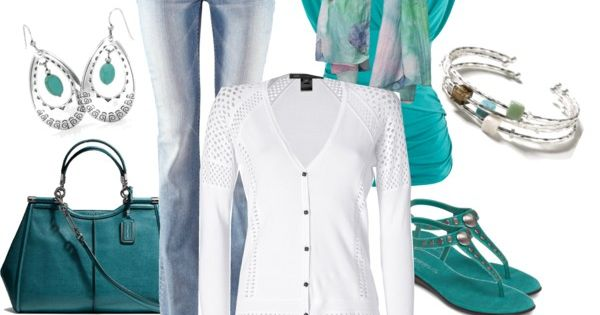 """Simple Style Teal and White"" by smores1165 on Polyvore"